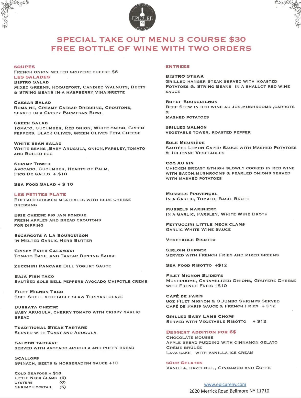 Take-out Specials $30